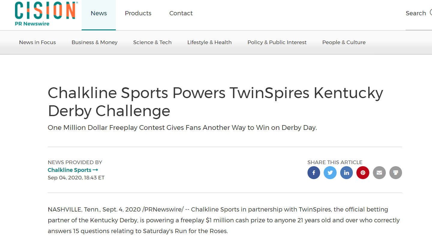 Chalkline Powers the Free-to-Play TwinSpires Kentucky Derby Challenge