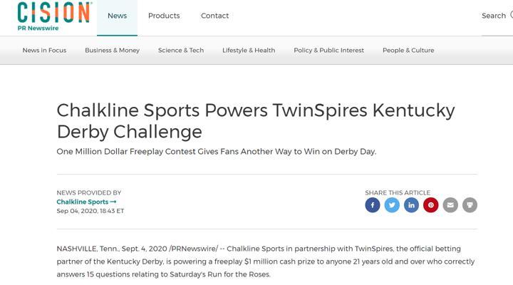 Chalkline TwinSpires Kentucky Derby Challenge