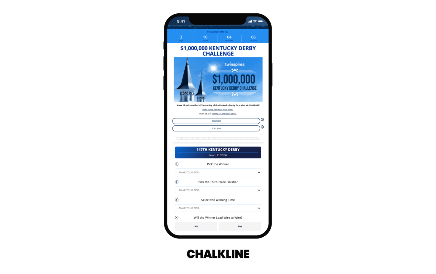Chalkline Partners with TwinSpires to Power the $1,000,000 Kentucky Derby Challenge for Third Year in a Row