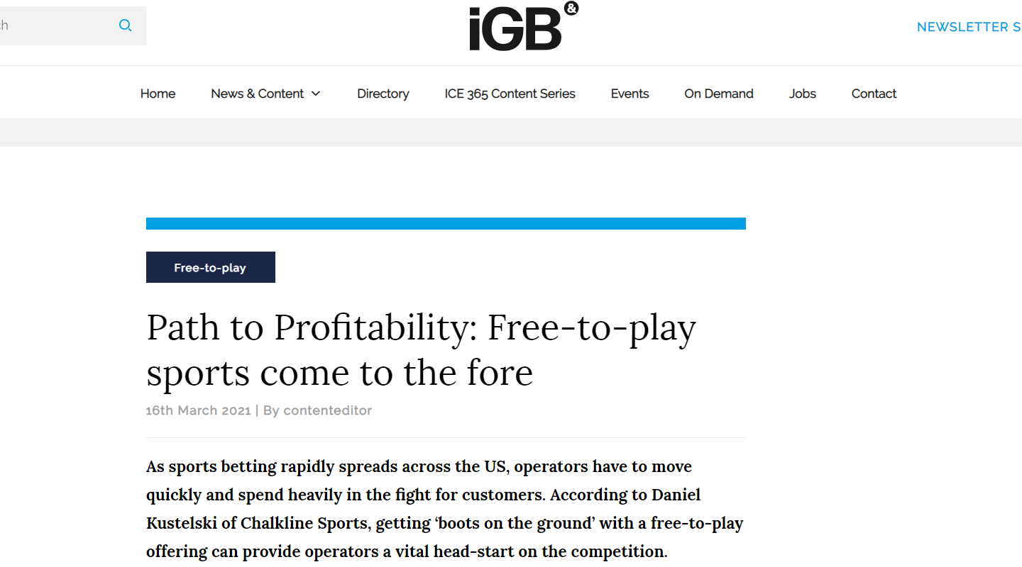 Chalkline CEO Daniel Kustelski on Why Betting Operators Should Adopt a Free-to-Play Strategy