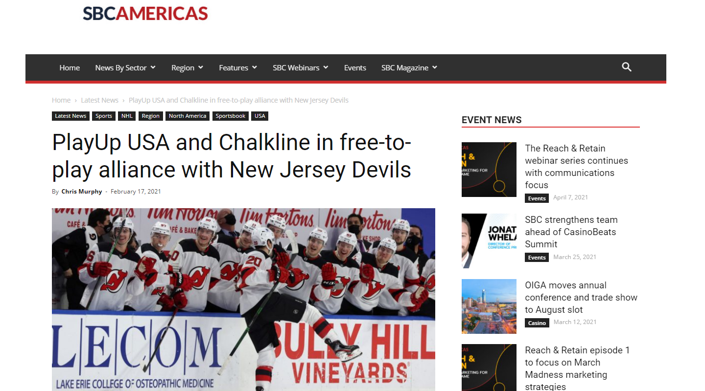 Chalkline Partners with PlayUp USA to Offer Free-to-Play and Real Money