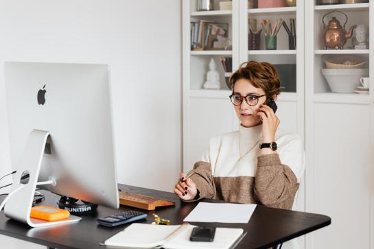 Small business leader working