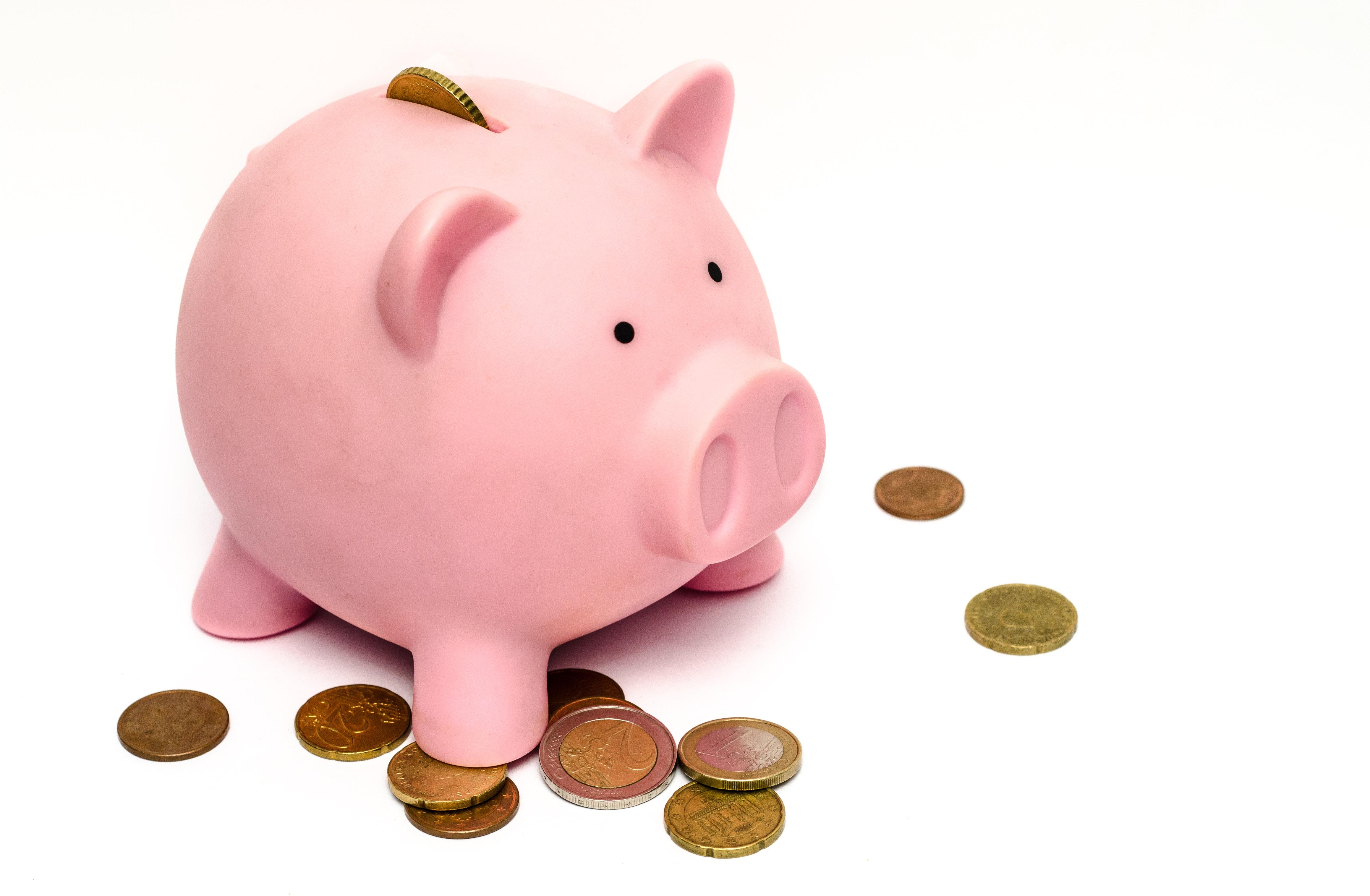 spilled coins from piggybank