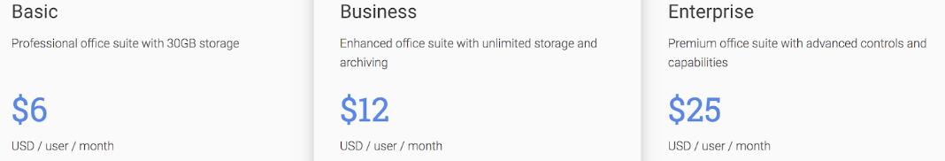 Google Suite pricing plan