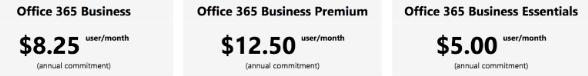 office 365 pricing plan