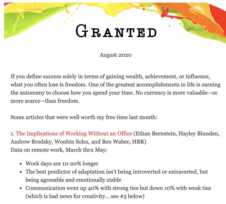 adam grant newsletter
