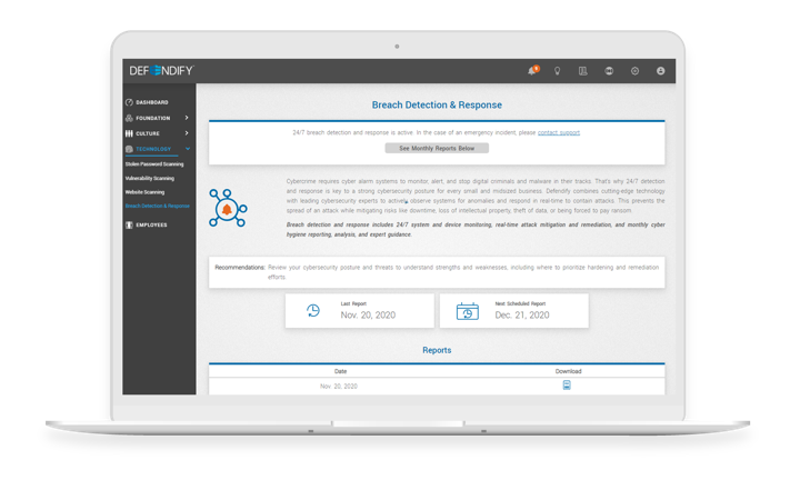 Breach Detection & Response from Defendify