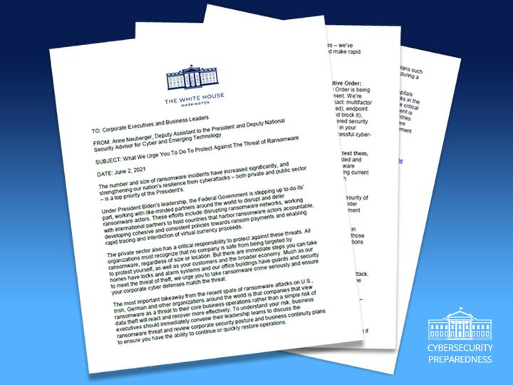 Open Letter from The White House on Ransomware