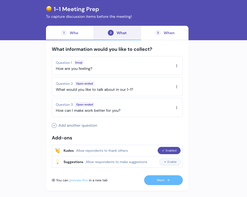 1-1 Meeting Workflow