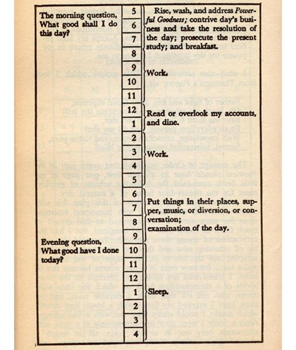 Ben Franklin Daily Routine Template