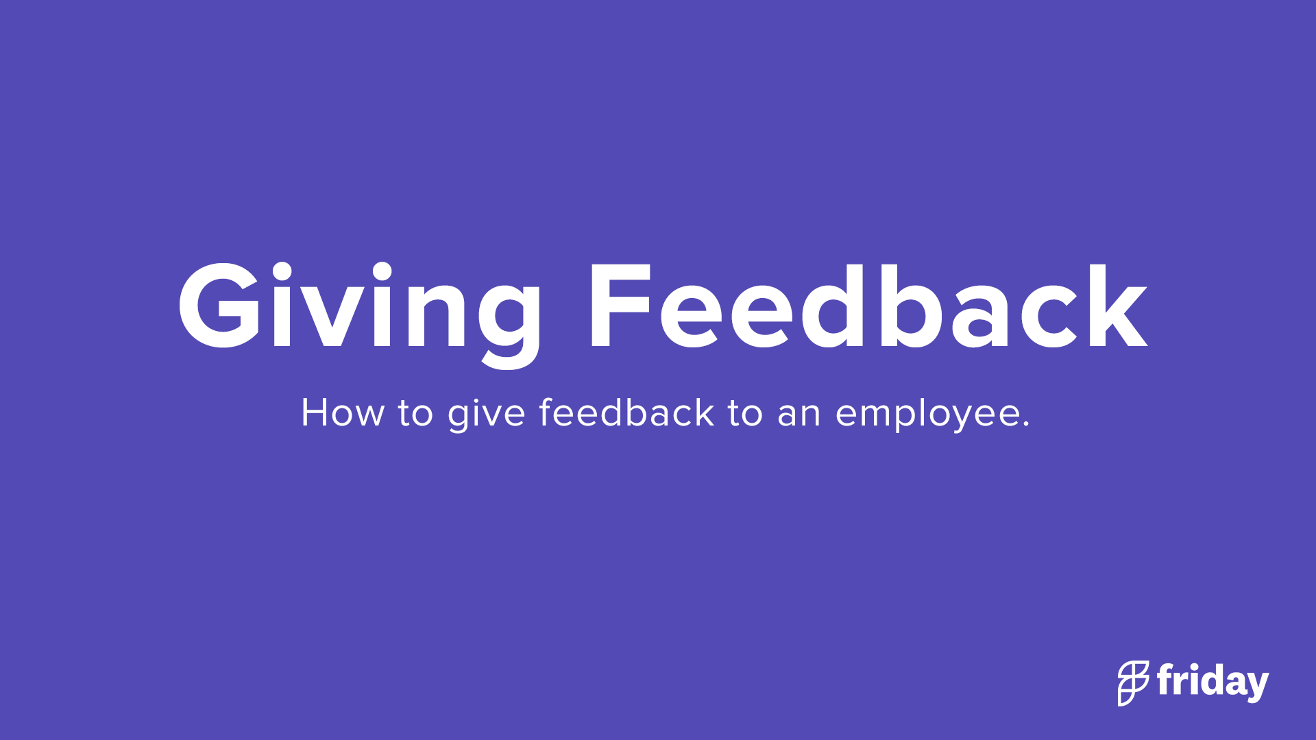 Giving Feedback to an Employee