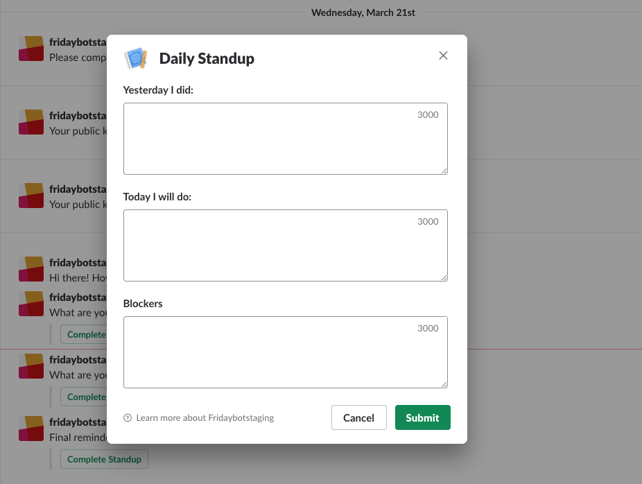 Daily Standups in Slack