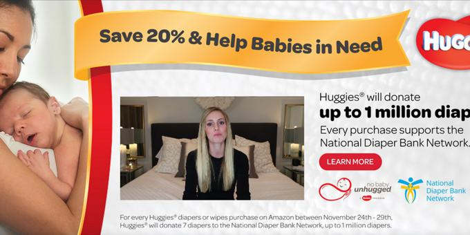 GIVING TUESDAY HUGGIES AND AMAZON DIAPER DONATION