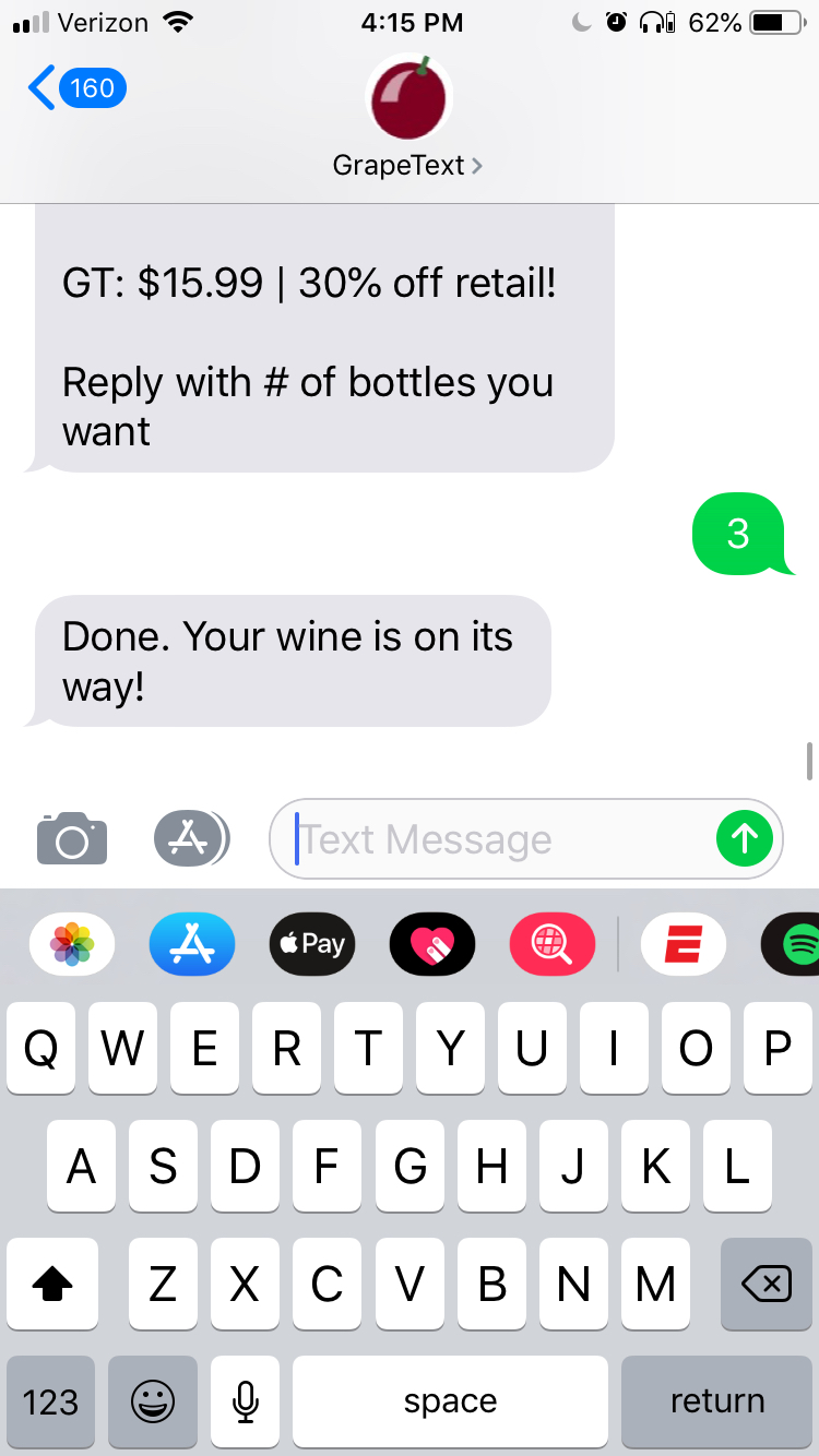 order wine in one text