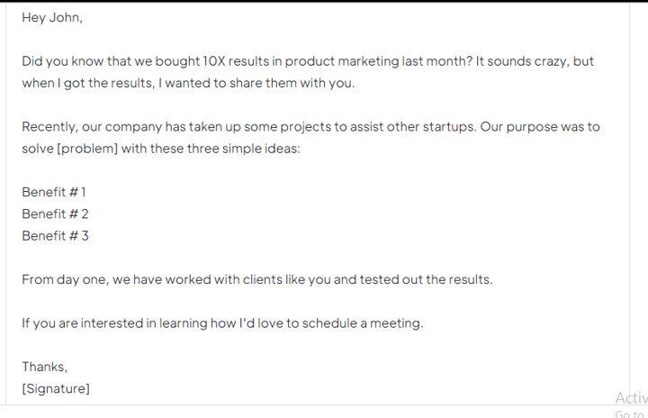 B2B Sales Email Template to Book a Meeting