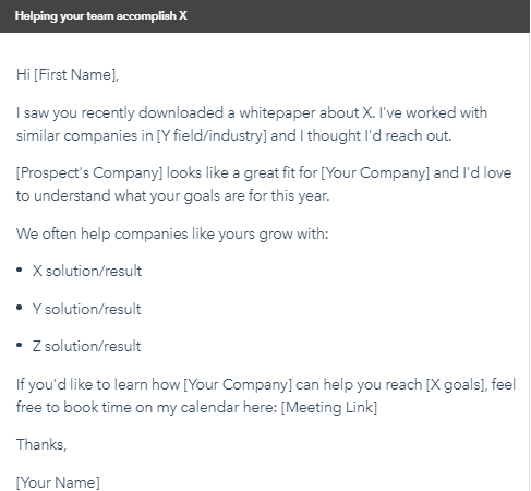 B2B Email Template to Establish Value