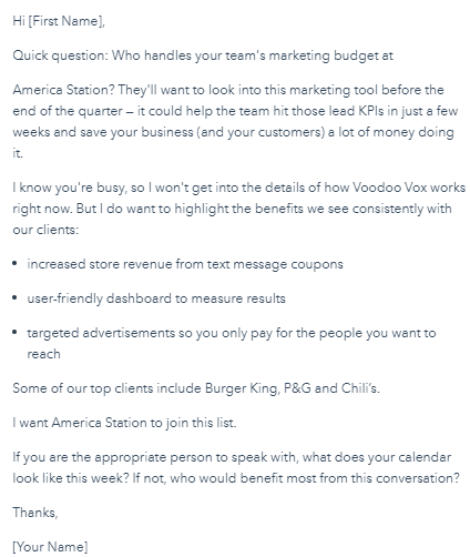 B2B Email Template for Finding the Decision-Maker in the Company