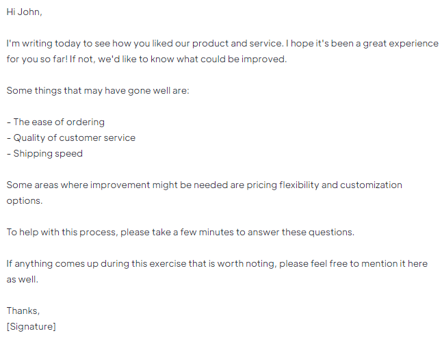 B2B Email Template for Free Trial Feedback