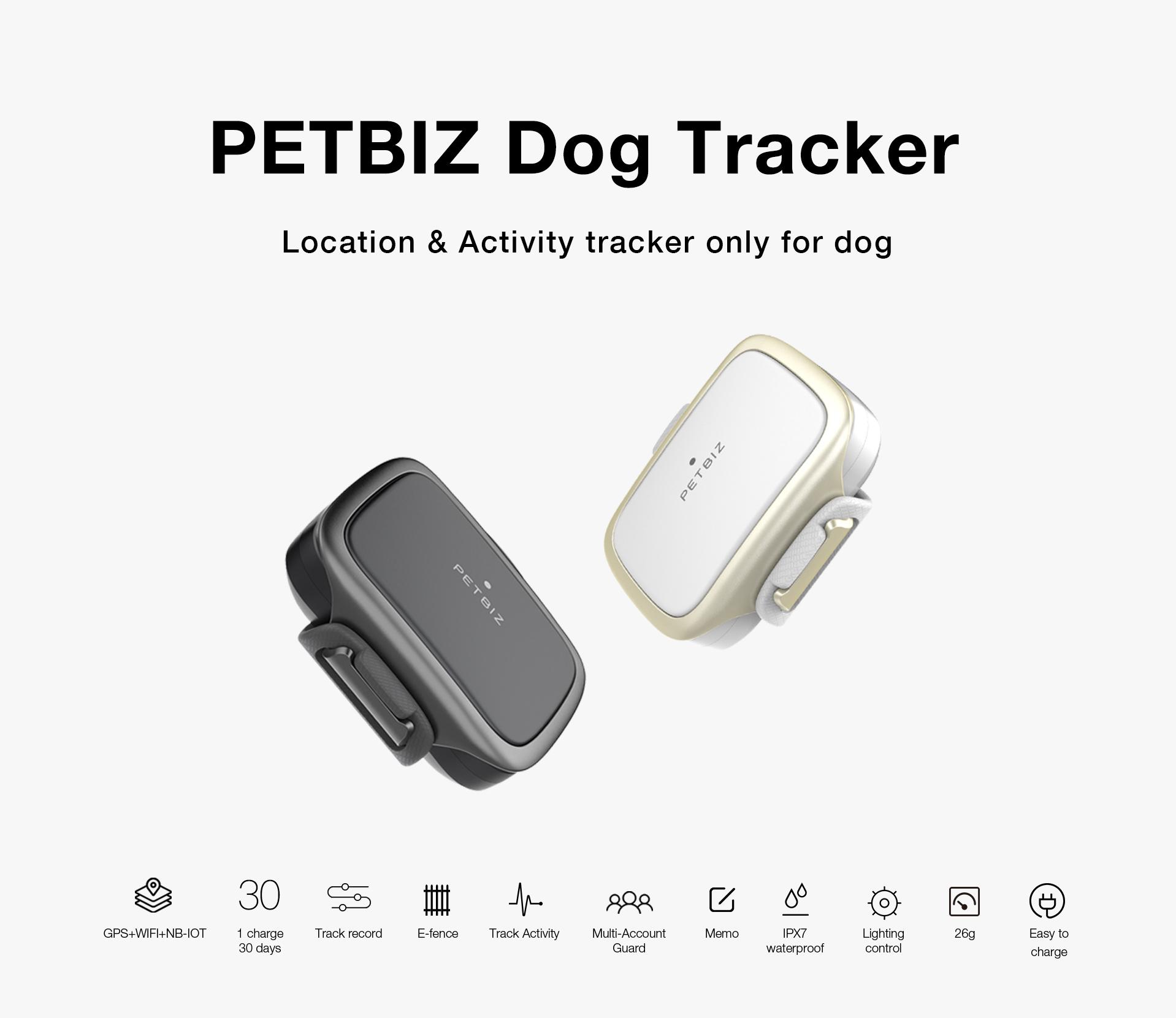 PetBiz Dog Tracker black and white