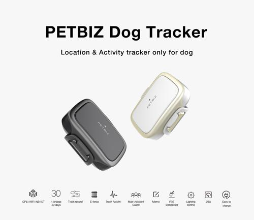 PetBiz dog trackers in white an black