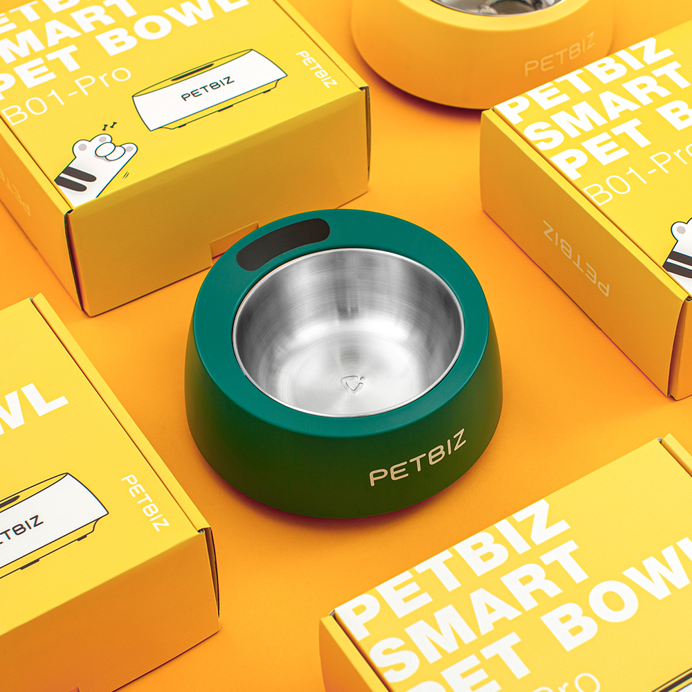 PetBiz Smart Bowl between yellow boxes