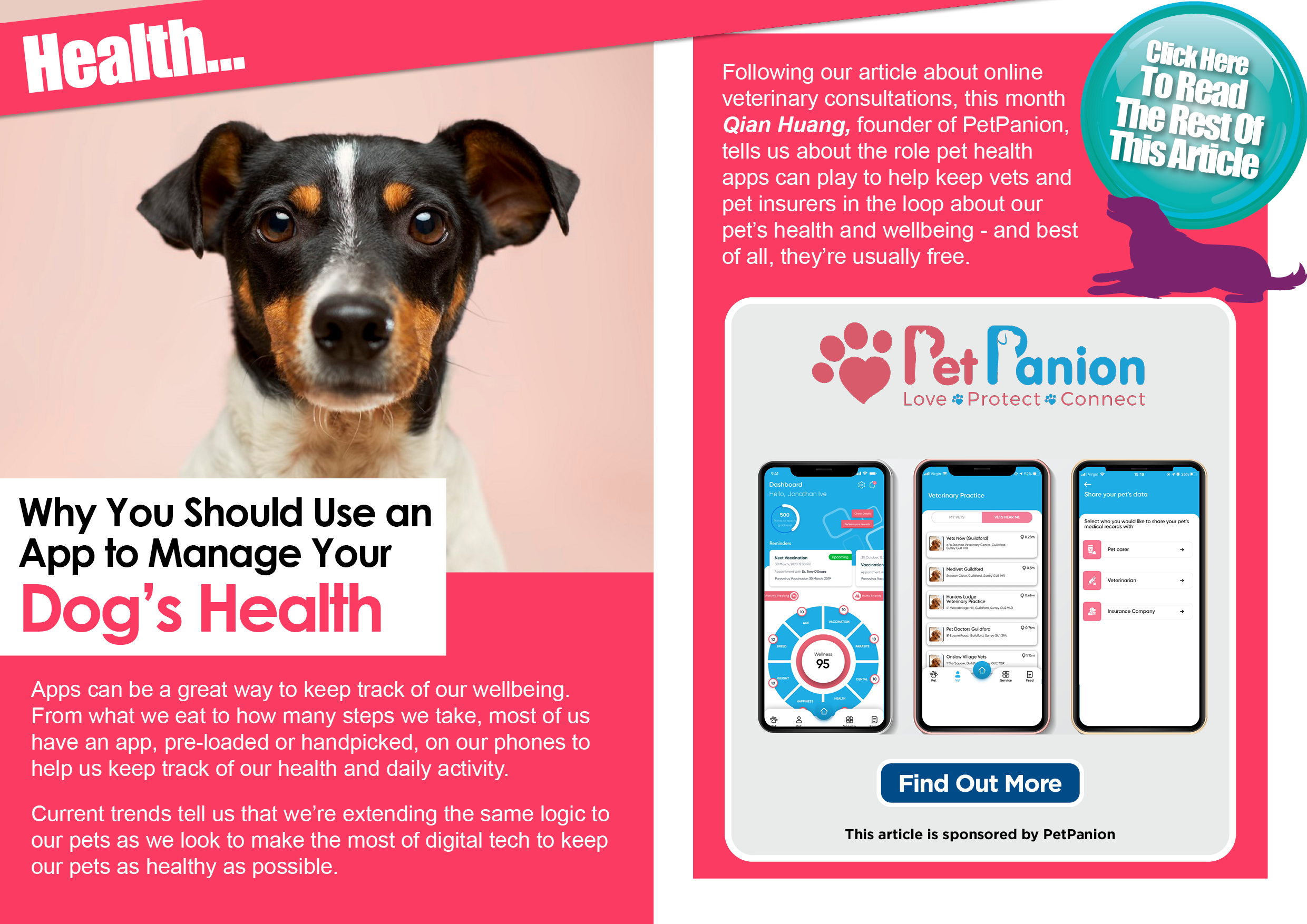 Use PetPanion app to control pet's health!