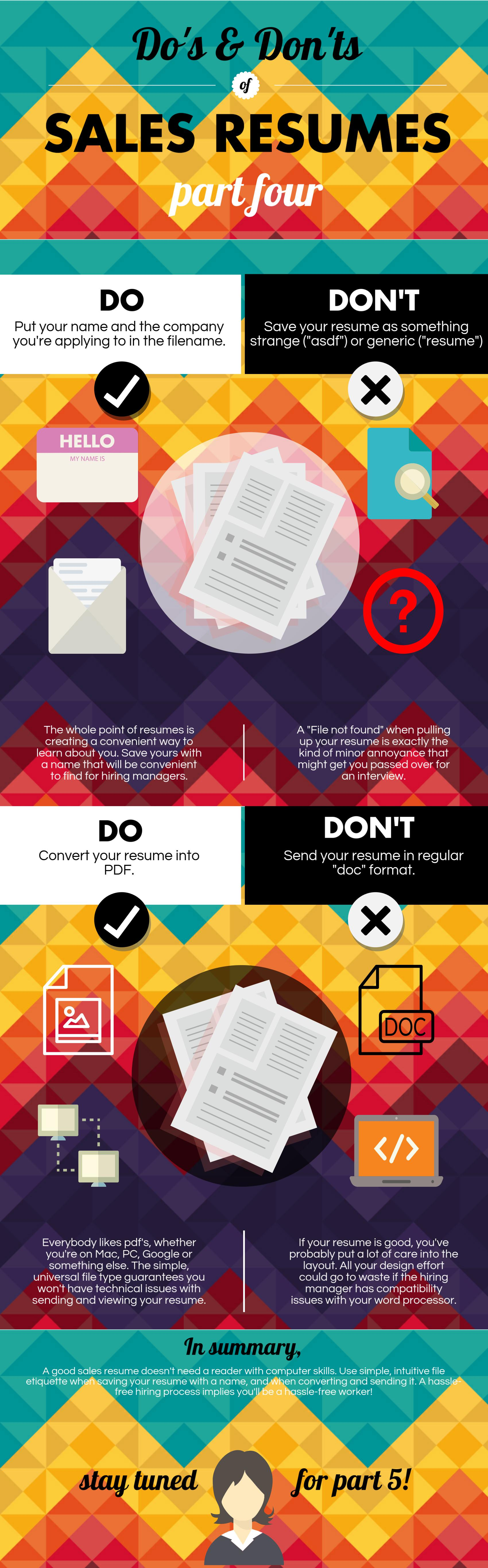 Dos And Donts Of Sales Resumes Part 4 Infographic
