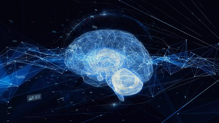 Graphic of virtual web of interconnected lines forming a brain