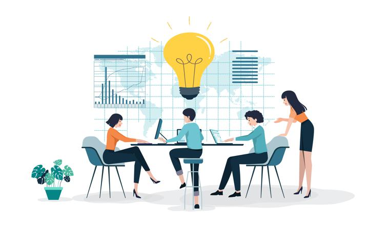Vector graphic of team generating idea from data