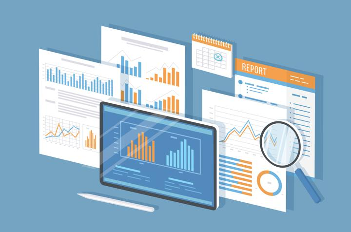 Vector graphic of overlaid reports and charts