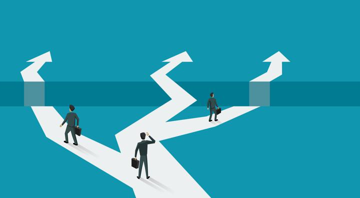 Vector graphic of business men choosing between divergent paths