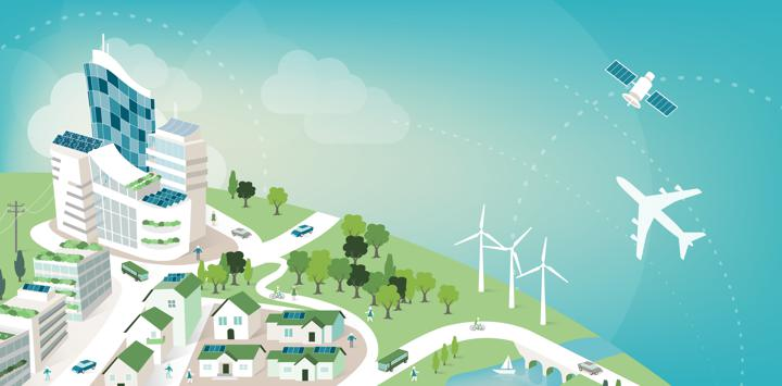 Vector graphic of green energy-powered city