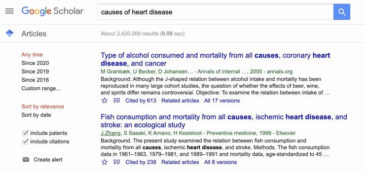 causes of heart disease from google scholar