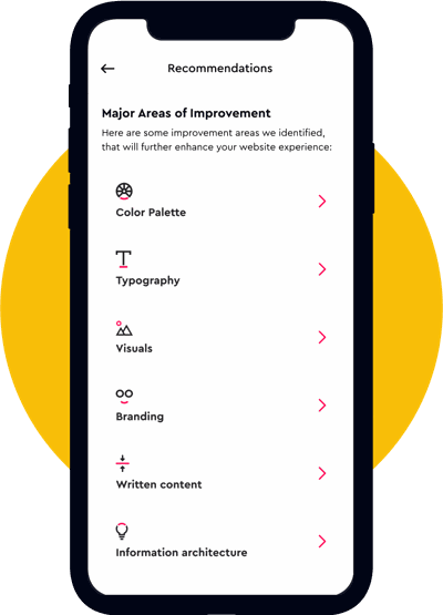 Mobile screenshot of areas of improvement screen