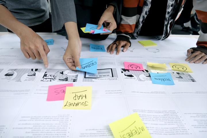 team reviewing user experience and using sticky notes to plan improvements