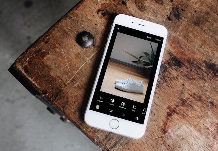 Photo editing app displayed on iPhone