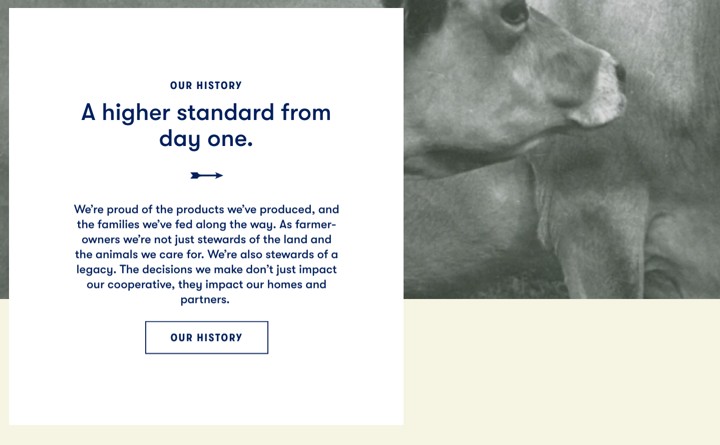 Tillamook County Creamery's About Page screenshot