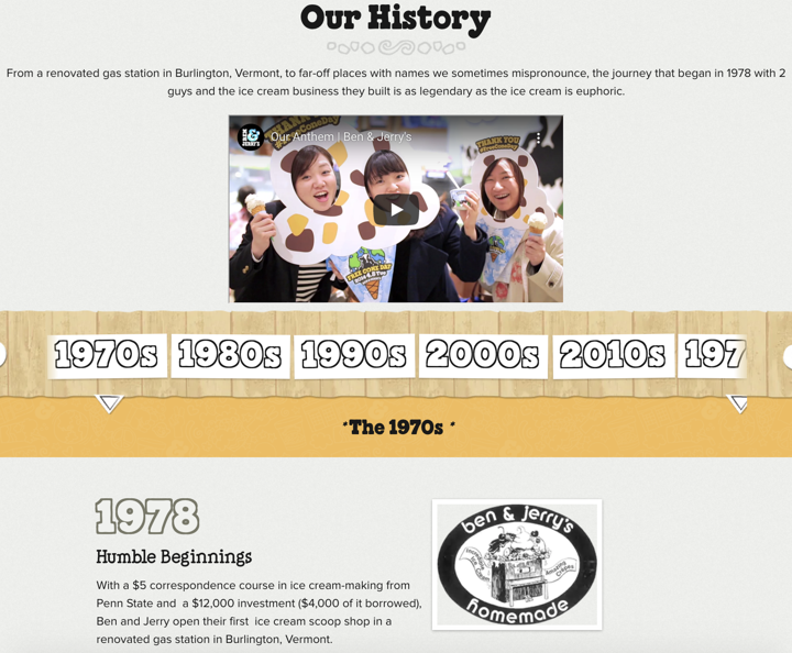 Ben & Jerry's About Page screenshot
