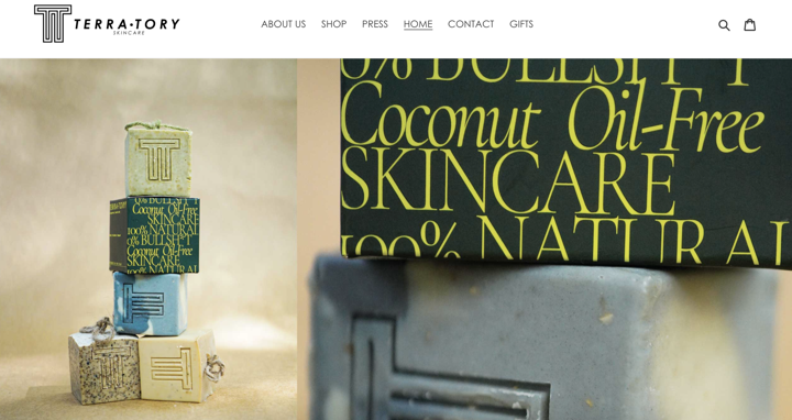 TERRA-TORY Skincare's website hero section showing images of their soap