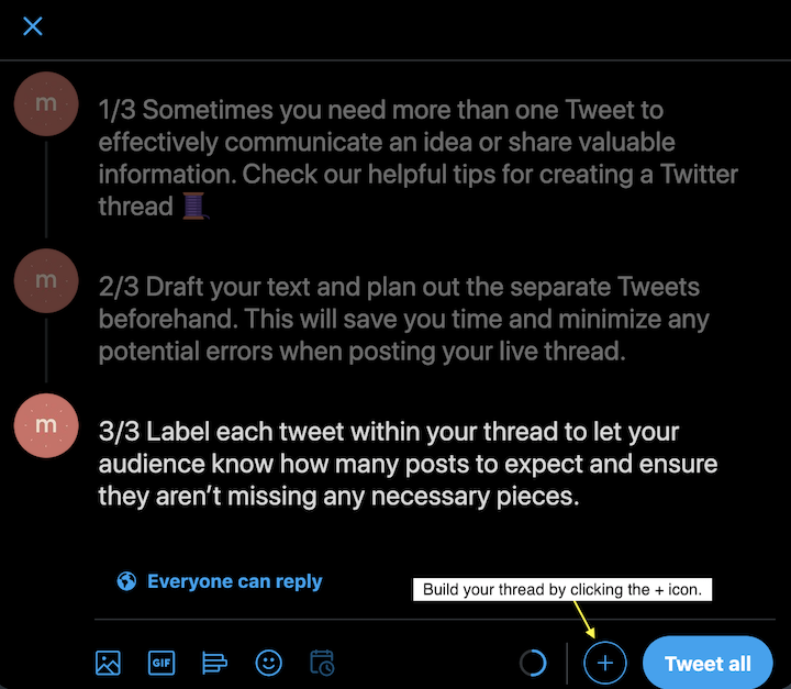 Screenshot of drafted Twitter thread