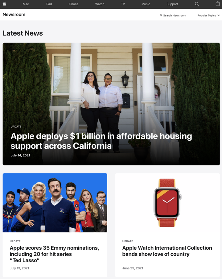Screenshot of Apple's press page showing different news articles.