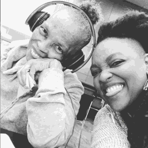 Caregiver with her mom and headphones on