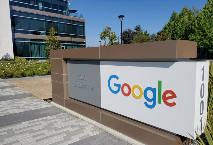 A sign is pictured outside a Google office near the company's headquarters in Mountain View, California, U.S., May 8, 2019 (Reuters)