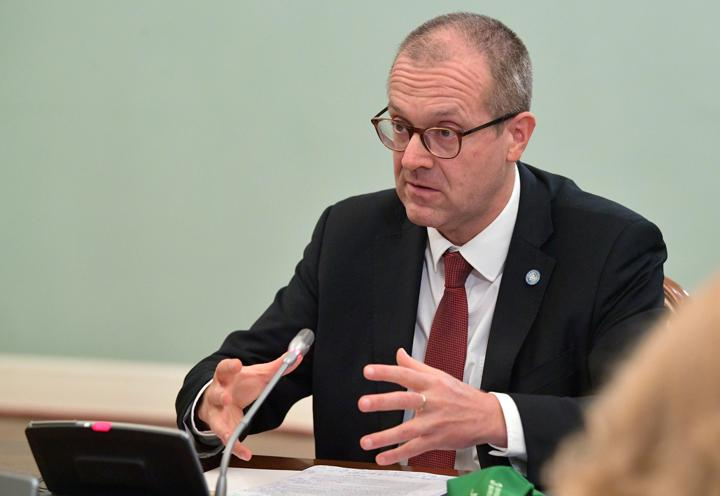 Hans Kluge, World Health Organization regional director for Europe, attends a meeting with Russian Prime Minister Mikhail Mishustin in Moscow, Russia September 23, 2020.