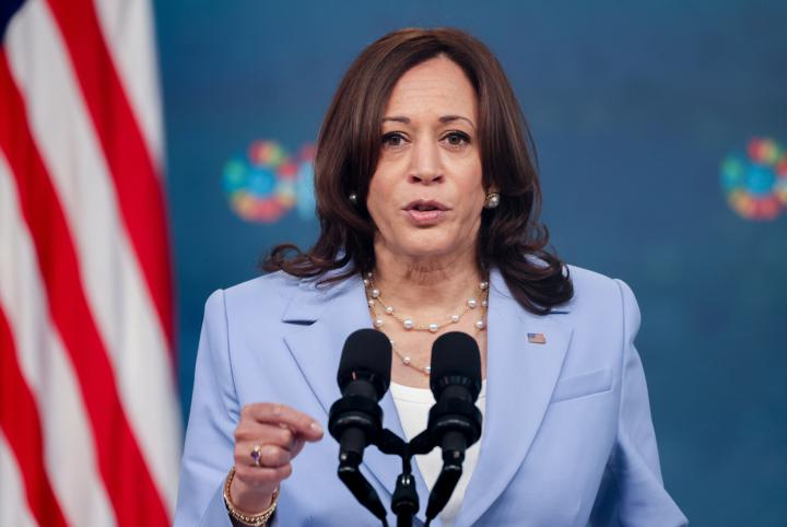U.S. Vice President Kamala Harris makes virtual remarks from the South Court Auditorium at the White House Complex in Washington, U.S., during the Generation Equality Forum in Paris, June 30, 2021. REUTERS/Evelyn Hockstein