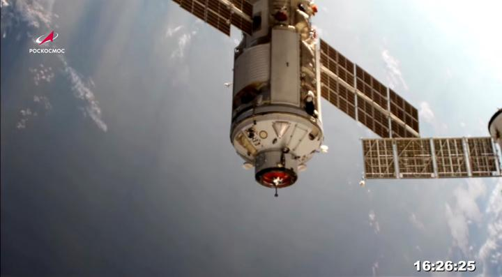 The Nauka (Science) Multipurpose Laboratory Module is seen during its docking to the International Space Station (ISS) on July 29, 2021 in this still image taken from video. Roscosmos/Handout via REUTERS