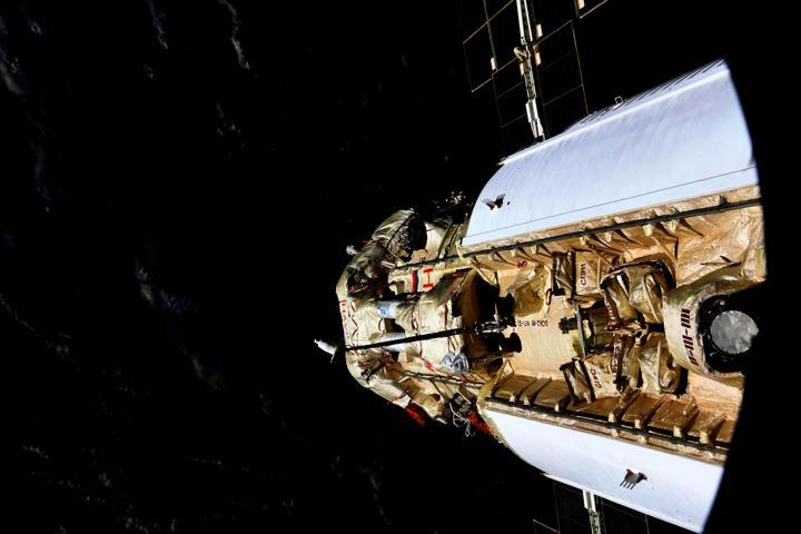 The Nauka (Science) Multipurpose Laboratory Module is seen docked to the International Space Station (ISS) on July 29, 2021. Oleg Novitskiy/Roscosmos/Handout via REUTERS