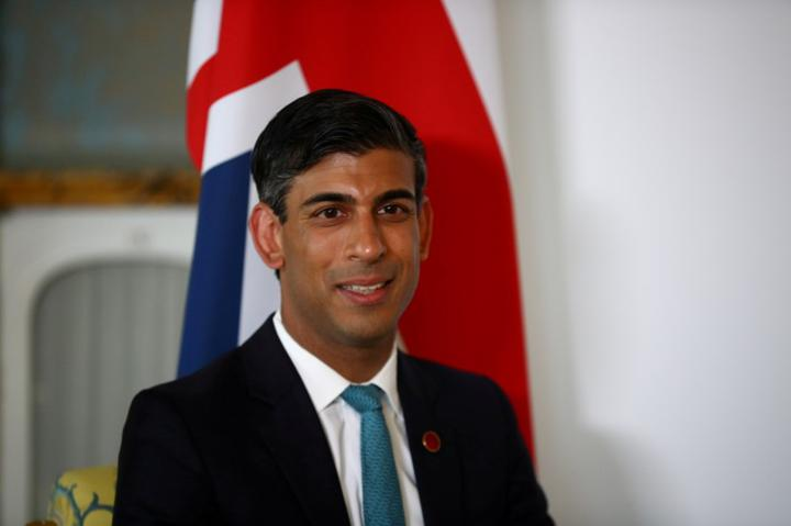 FILE PHOTO: Britain's Chancellor of the Exchequer Rishi Sunak meets with U.S. Treasury Secretary Janet Yellen (not pictured), in London, Britain June 3, 2021. REUTERS/Hannah McKay/Pool/File Photo