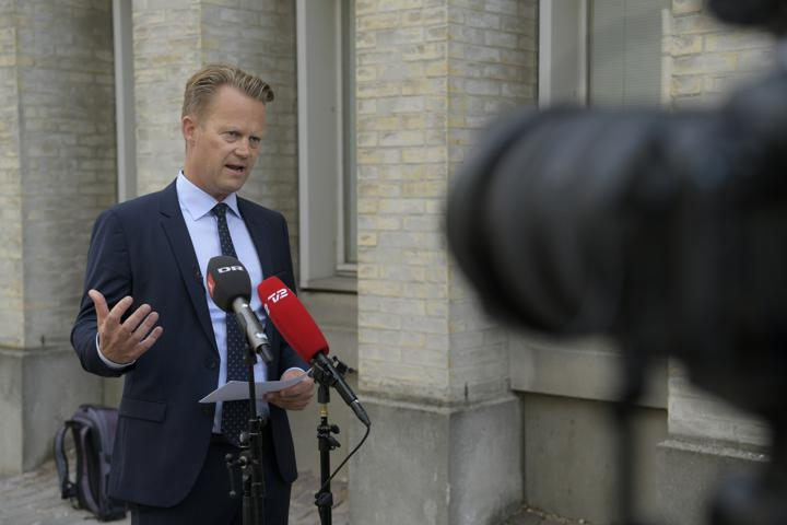 Denmark's Foreign Minister Jeppe Kofod speaks during a news conference as the country is to temporarily close its embassy in Afghanistan's capital, Kabul, and evacuate the employees, in Copenhagen, Denmark, August 13, 2021. Ritzau Scanpix/Nils Meilvang via REUTERS