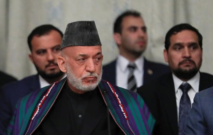 FILE PHOTO: Afghan former President Hamid Karzai attends peace talks with a Taliban delegation in Moscow, Russia May 30, 2019. REUTERS/Evgenia Novozhenina